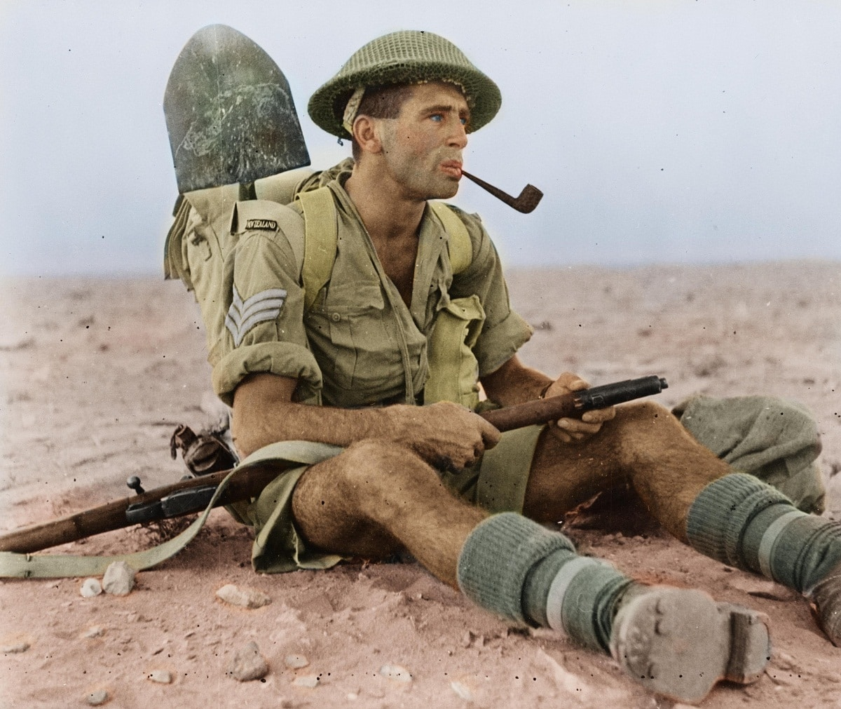 Soldier smoking a pipe