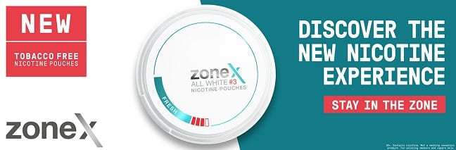 ZoneX Promo Banner for their new nicotine pouches